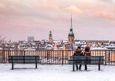Ein Winternachmittag im Stockholm Lizenzfreies Stockbild
