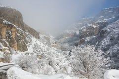 Ein Winterpanorama von Geghard-Kloster Stockfoto