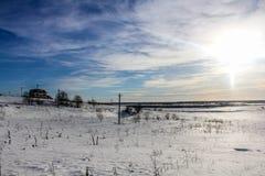 Ein Wintertag in der Leningrad-Region Stockfotos