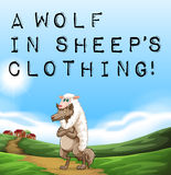 Ein Wolf in der Kleidung des Schafs Lizenzfreie Stockbilder