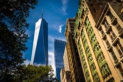 Ein World Trade Center und andere Gebäude in Lower Manhattan, N Stockfotos