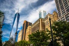 Ein World Trade Center und andere Gebäude in Lower Manhattan, N Stockfotografie