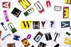 Ein Wortschreibenstext, der Konzept von warum Frage gemacht vom unterschiedlichen Zeitschriftenzeitungsbuchstaben für Geschäftsfa Stockfoto