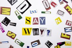 Ein Wortschreibenstext, der Konzept von zeigt, sagen warum die Frage, die vom unterschiedlichen Zeitschriftenzeitungsbuchstaben f Stockbild