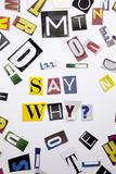 Ein Wortschreibenstext, der Konzept von zeigt, sagen warum die Frage, die vom unterschiedlichen Zeitschriftenzeitungsbuchstaben f Lizenzfreie Stockbilder