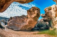 Ein Yorkeam一片美丽如画的绿洲在Neqev沙漠 库存照片