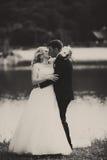 Ein zarter Kuss von den Jungvermählten, die auf dem Seeufer stehen Stockfoto