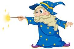 Ein Zauberer, der einen magischen Stab hält Stockbild