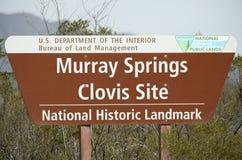 Ein Zeichen bei Murray Springs Clovis Site Trailhead Stockbild