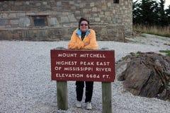 Ein Zeichen am Berg Mitchell in Virginia lizenzfreie stockfotografie