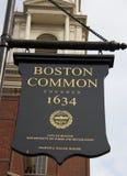 Ein Zeichen Boston Commons lizenzfreies stockbild