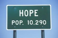 Ein Zeichen, das ï ¿ ½ Hoffnung - Knall liest ¿ 10,290ï ½ Lizenzfreies Stockfoto