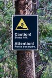 Ein Zeichen des Vorsichtsteilen hangs auf einem Rand einer Spur Lizenzfreies Stockbild