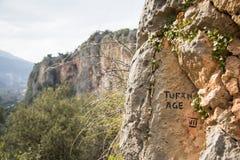 Ein Zeichen eines kletternden Weges Stockfotografie