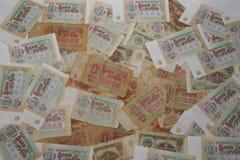 Ein Zerstreuen von Rechnungen auf dem 1 (einem) Rubel der UDSSR Stockfoto