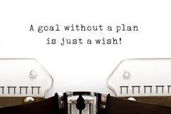 Ein Ziel ohne einen Plan ist gerade ein Wunsch stockfotografie