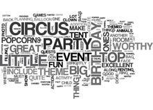 Ein Zirkus-Geburtstags-heftiger Schlag angemessen von der Zirkuszelt-Wort-Wolke lizenzfreie abbildung
