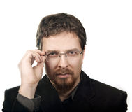 Ein zufriedener Geschäftsmann getrennt auf Weiß Lizenzfreie Stockbilder