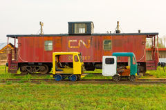 Ein Zugmuseum im Freien in Saskatchewan stockfotografie