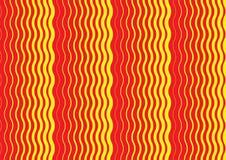 Ein Zusammenfassungsgewellter roter und gelber Musterabdeckungsentwurf lizenzfreie abbildung