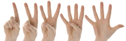 Ein zwei drei vier fünf Hände Stockbild
