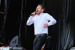 Einar Orn Benediktsson, cantor da faixa de Ghostigital Foto de Stock Royalty Free