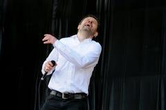 Einar Orn Benediktsson sångare av den Ghostigital musikbandet Royaltyfri Fotografi