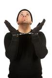 Einbrecher: Räuber-tragende Handschellen Stockfotografie