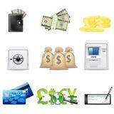 Eindämmung- und Finanzikonenset Stockfoto