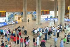 Eind 3 Aankomstzaal bij de luchthaven van Ben Gurion van Israël Stock Afbeeldingen