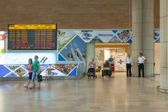 Eind 3 Aankomstzaal bij de luchthaven van Ben Gurion van Israël Stock Afbeelding