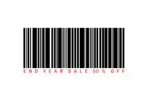Eind van besparingen 50% van de jaarverkoop van heden met streepjescode Het concept van de verkoop - hand met vergrootglas Stock Foto's