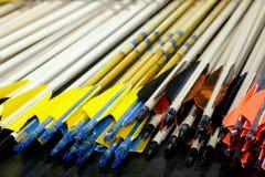 Eind van de pijlen van het sportboogschieten in rij Royalty-vrije Stock Foto