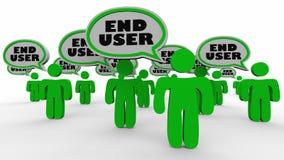 Eind - van de Toespraakbellen van gebruikersmensen het Publieksklanten 3d Illustratio stock illustratie