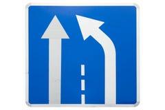 ` Eind van extra steeg` vierkante blauwe die verkeersteken op wit worden geïsoleerd stock illustratie