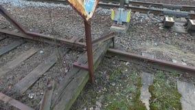 Eind van het spoorwegspoor stock footage