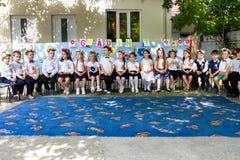 Eind van jaartoekenning bij de kleuterschool royalty-vrije stock foto's