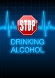 EINDE het DRINKEN ALCOHOL op de blauwe monitor die van het harttarief wordt geschreven Royalty-vrije Stock Foto