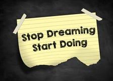 Einde het dromen - begin het doen stock illustratie