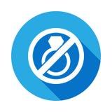Einde of verbodshuwelijk, belemmerd teken vlak pictogram met lange schaduw vector illustratie