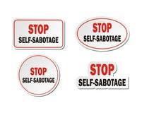 Einde zelf-sabotage - stickerreeksen stock illustratie