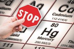 Einde zware metalen - Conceptenbeeld die met hand een eindeteken houden tegen een kwik chemisch element met periodieke Mendeleev stock foto