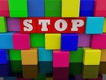 Eindeconcept op abstracte muur van kleurrijke stuk speelgoed kubussen vector illustratie