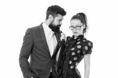 Eindekwelling Gebaarde man en sexy vrouw Romantisch paar in bureau businesspeople Losgelaten wens Sexy Zaken royalty-vrije stock afbeeldingen