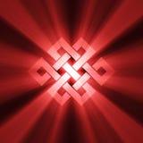 Eindeloos knoopsymbool met lichte halo Stock Foto