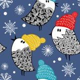 Eindeloos patroon met krabbelvogels in sneeuw royalty-vrije illustratie