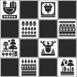 Eindeloos patroon met Skandinavische stijlillustratie Royalty-vrije Stock Foto