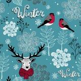 Eindeloze achtergrond met herten, vogels en de winteraard royalty-vrije illustratie