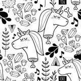 Eindeloze achtergrond met krabbelhoofd van eenhoorn Stock Afbeelding