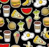 Eindeloze achtergrond met pictogrammen van voedsel Royalty-vrije Stock Afbeelding